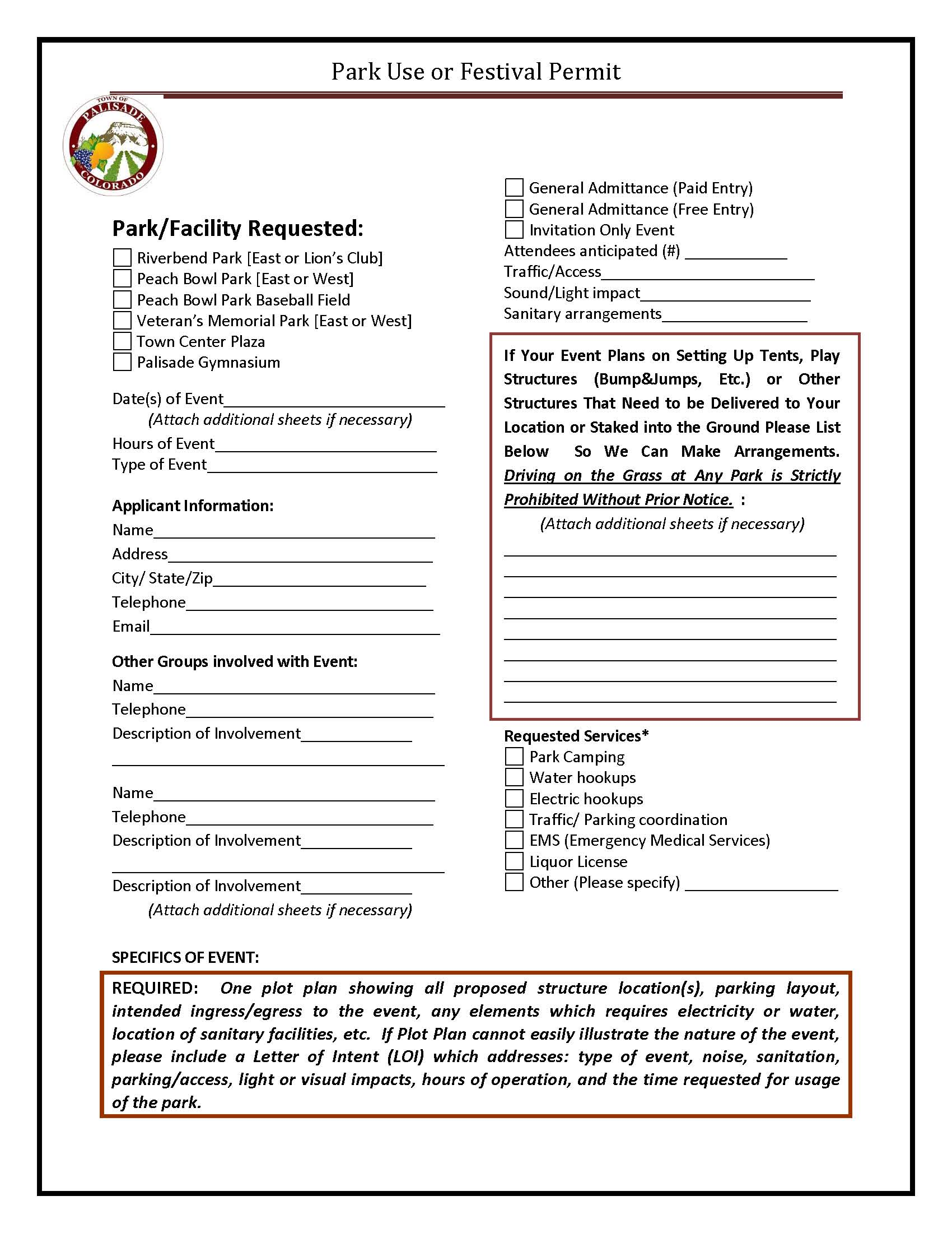 Park Use or Festival Permit Page 1