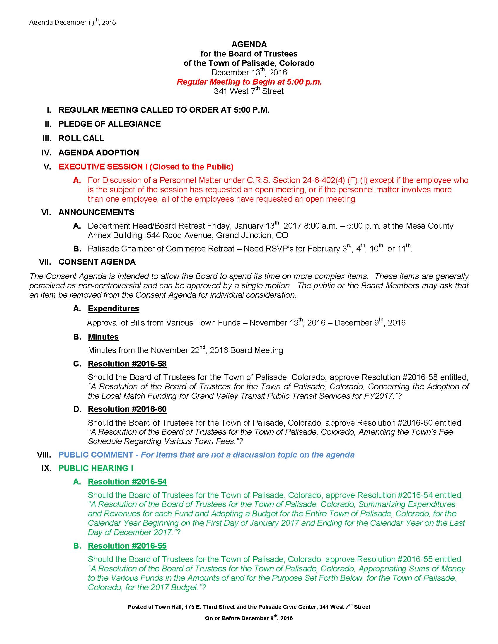 December 13th 2016 Board Meeting Agenda Page 1