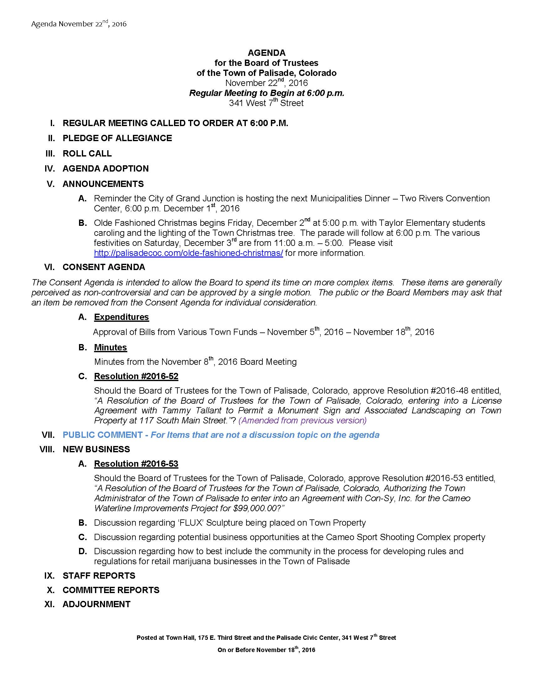 November 22nd 2016 Board Meeting Agenda