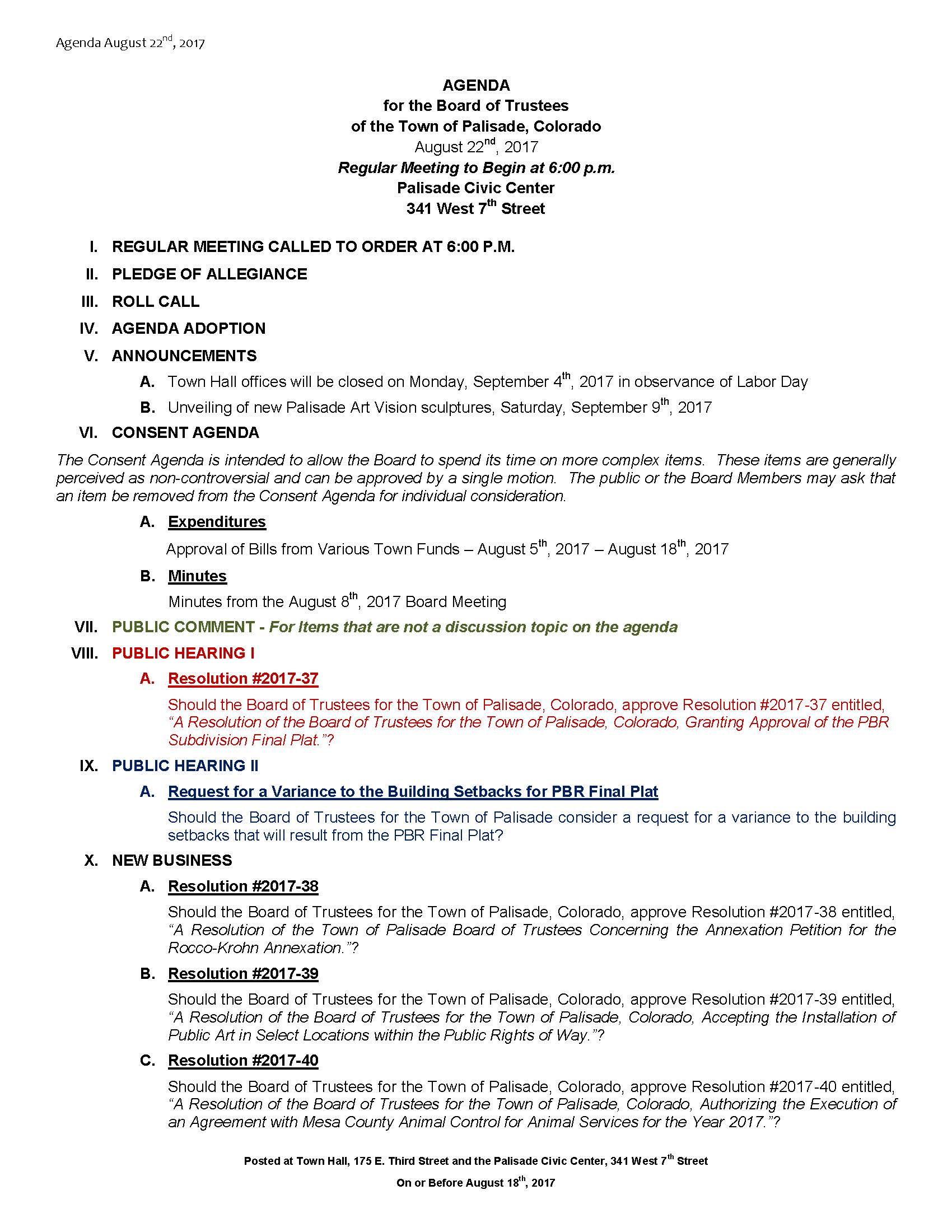 August 22nd 2017 Board Meeting Agenda Page 1