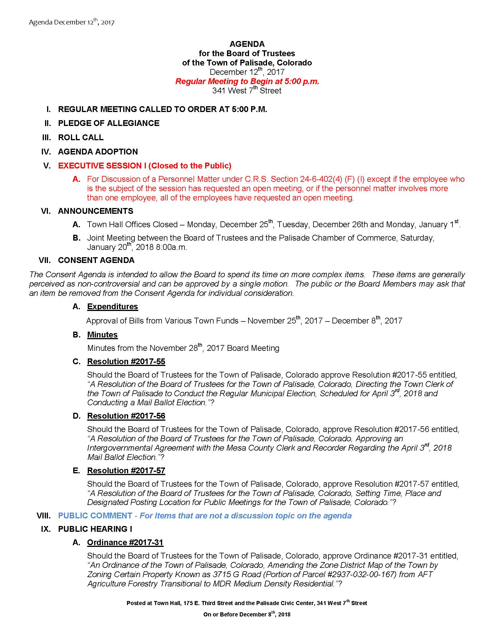 December 12th 2017 Board Meeting Agenda Page 1