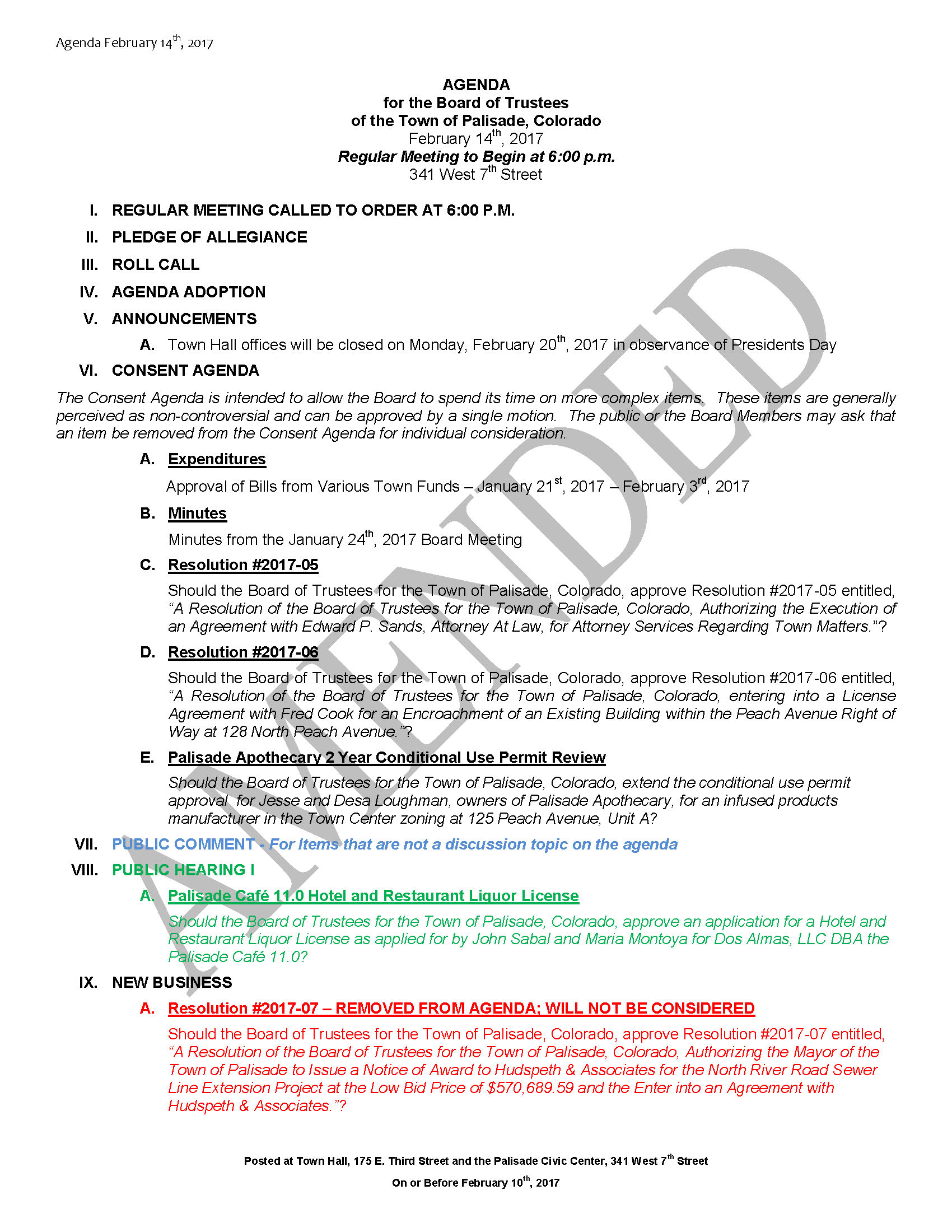 February 14th 2017 Board Meeting Agenda Amended Page 1