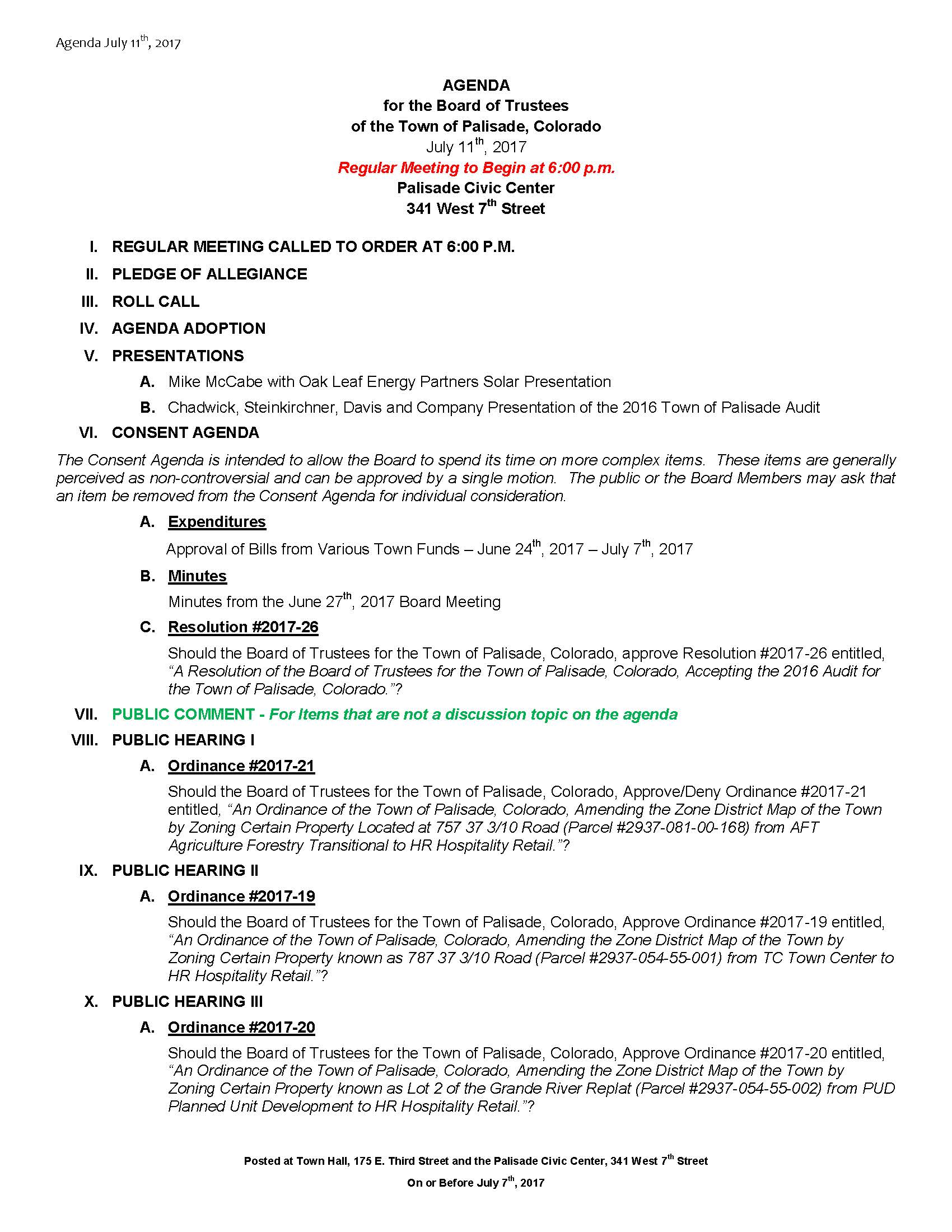 July 11th 2017 Board Meeting Agenda Page 1