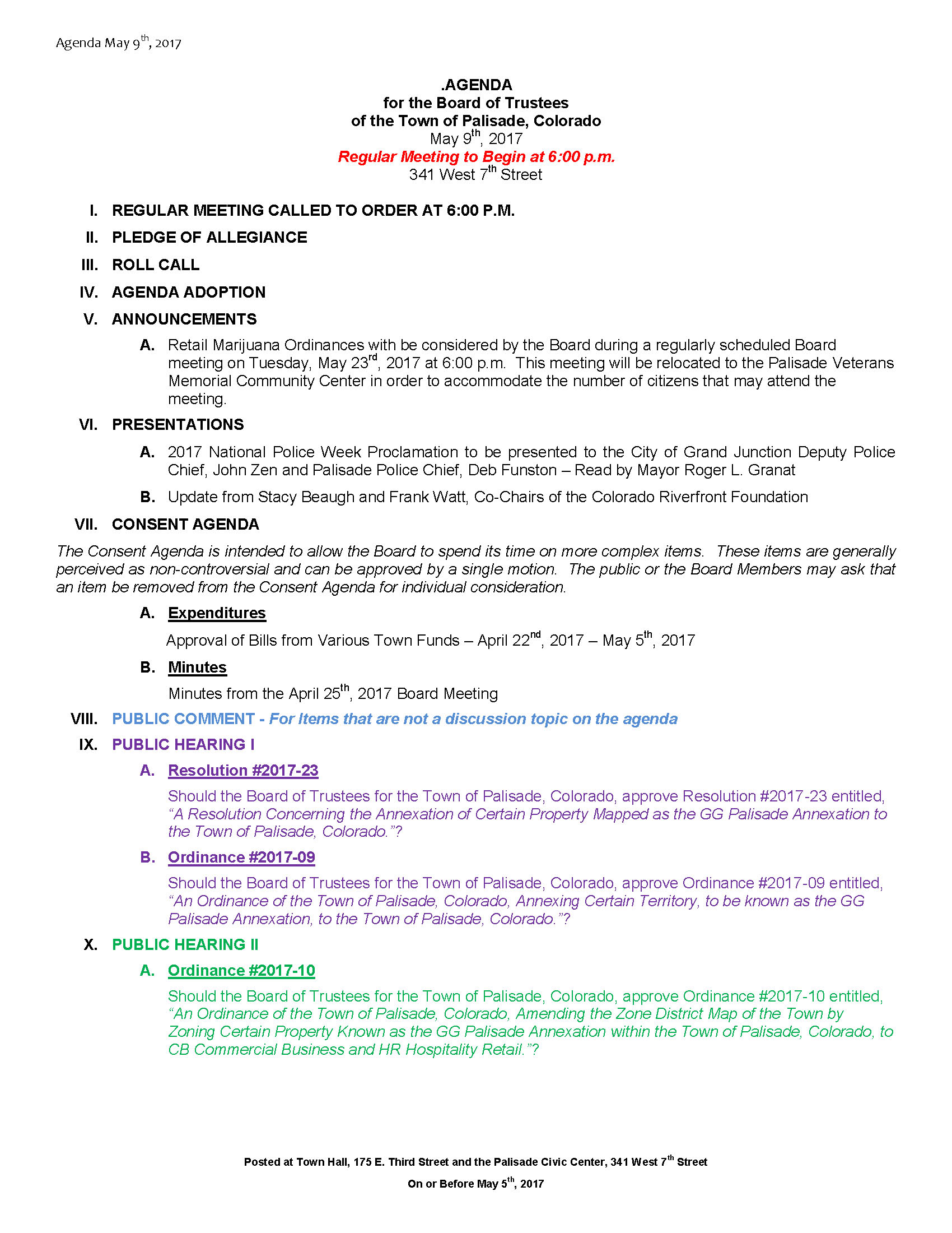 May 9th 2017 Board Meeting Agenda Page 1