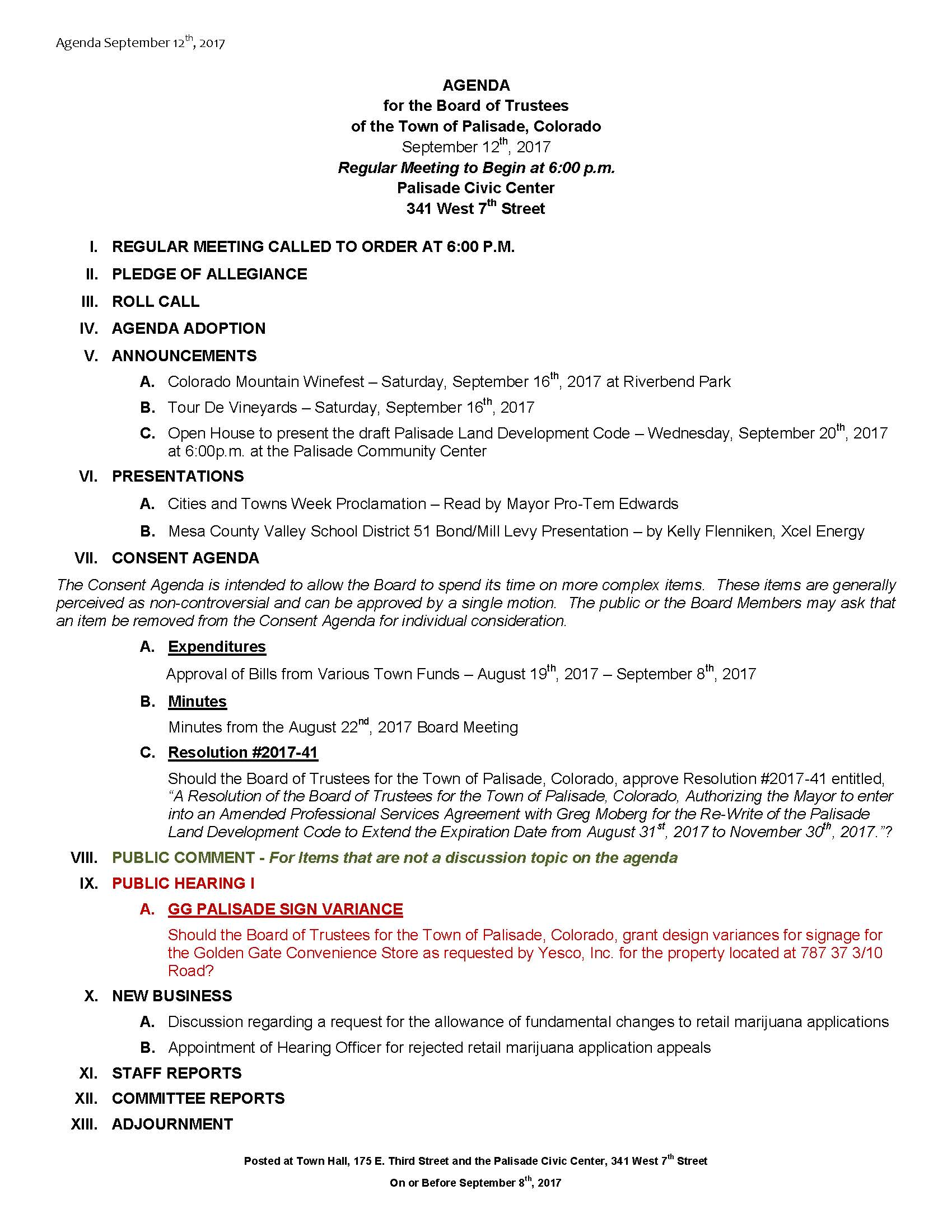 September 12th 2017 Board Meeting Agenda