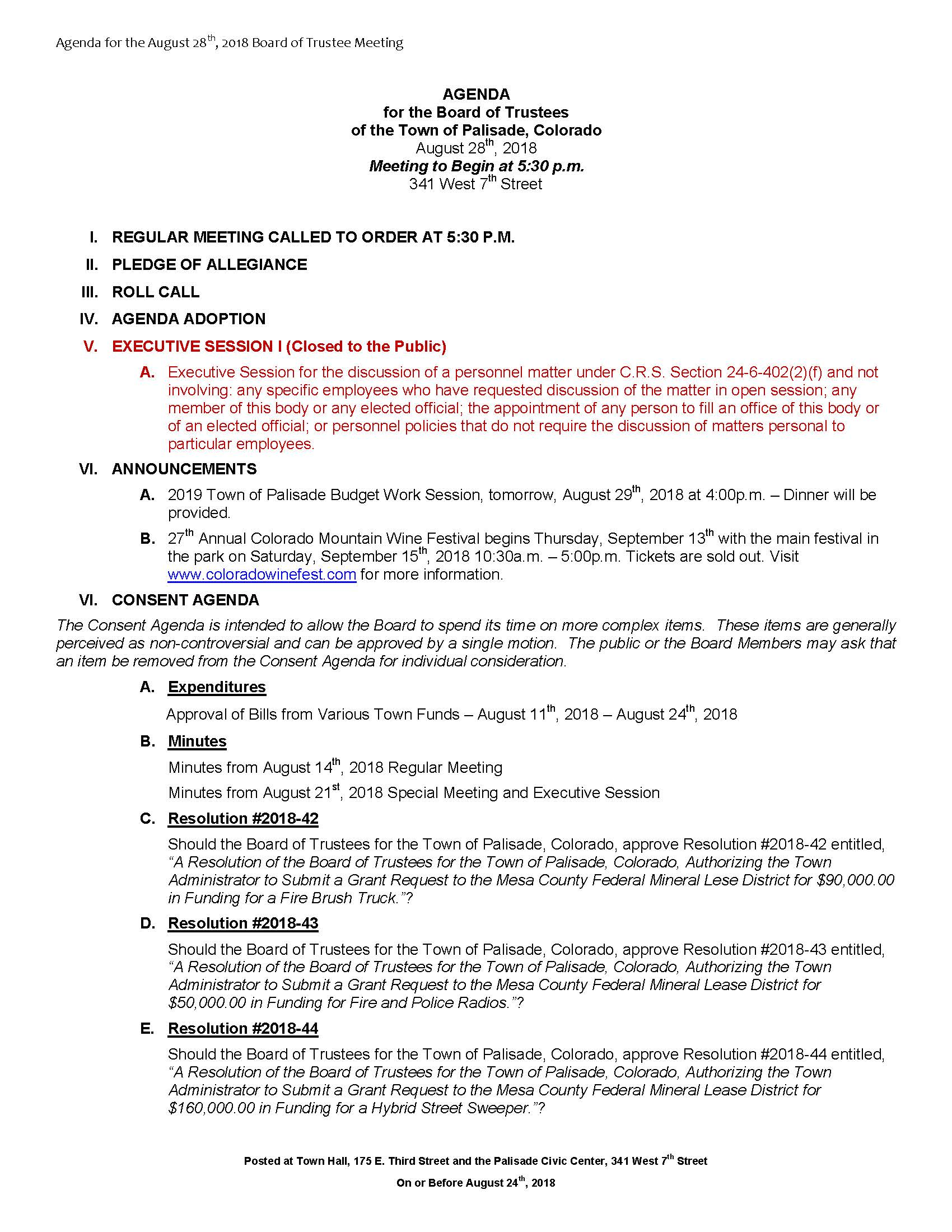 August 28th 2018 Board Meeting Agenda Page 1
