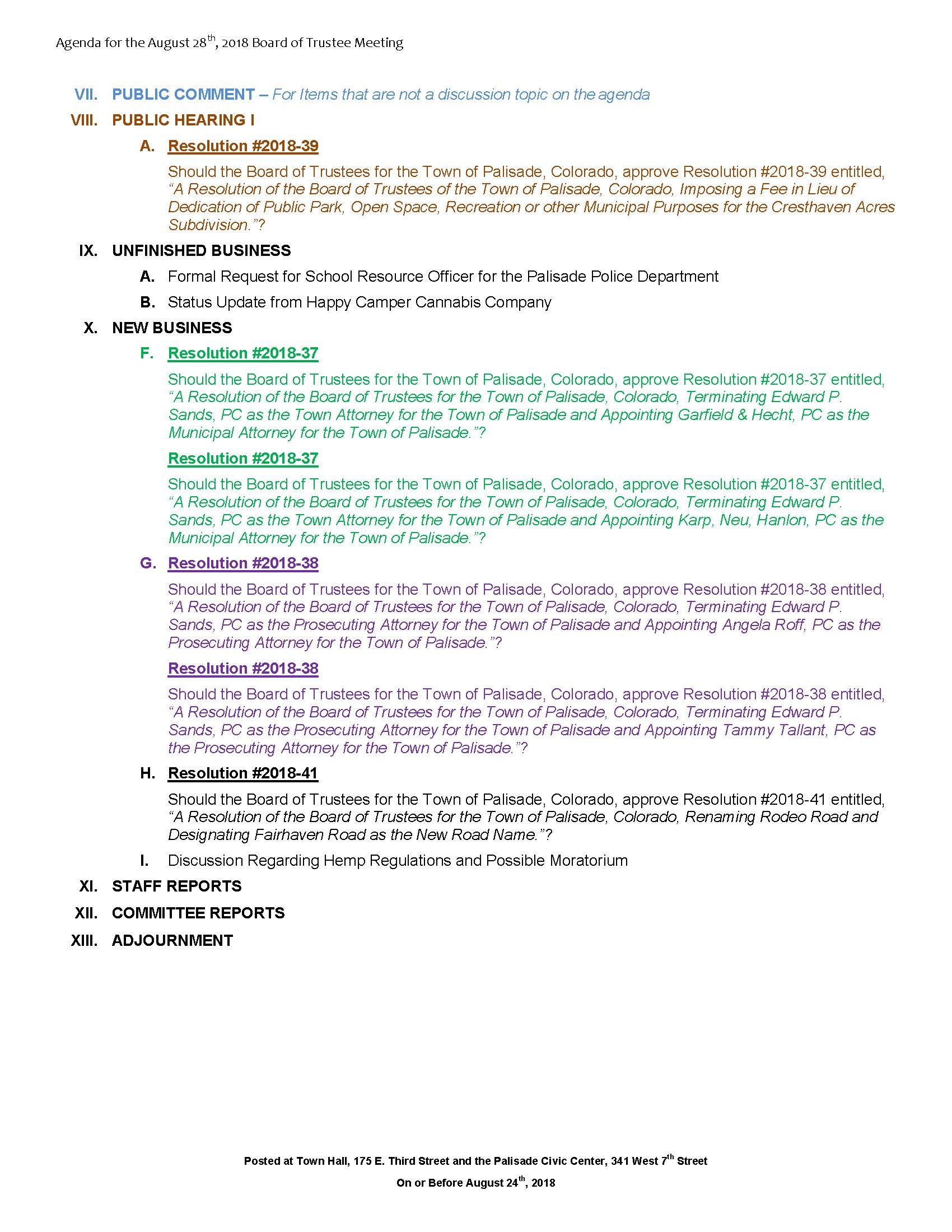 August 28th 2018 Board Meeting Agenda Page 2