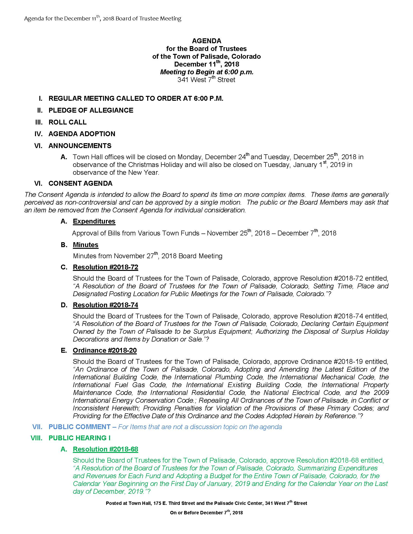 December 11th 2018 Board Meeting Agenda Page 1