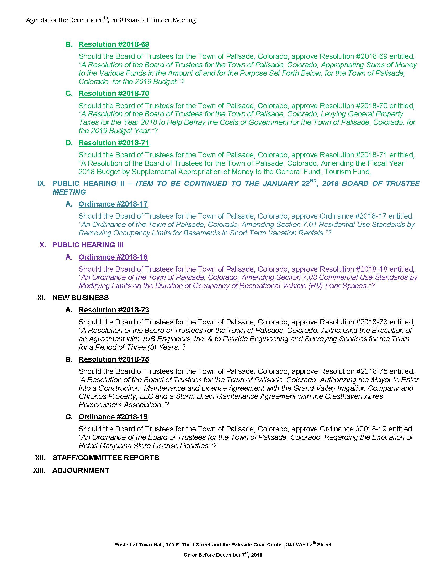 December 11th 2018 Board Meeting Agenda Page 2