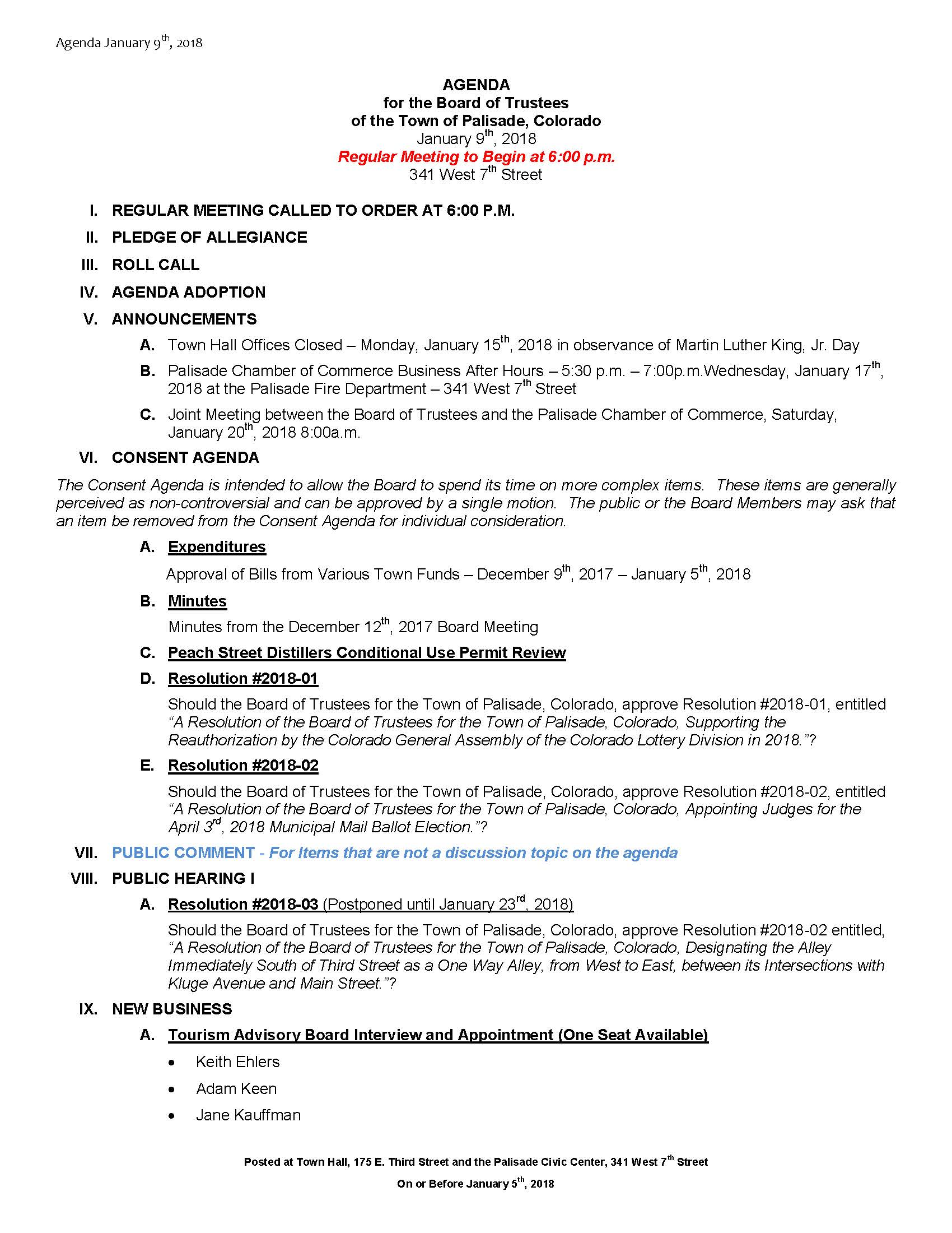 January 9th 2018 Board Meeting Agenda Page 1