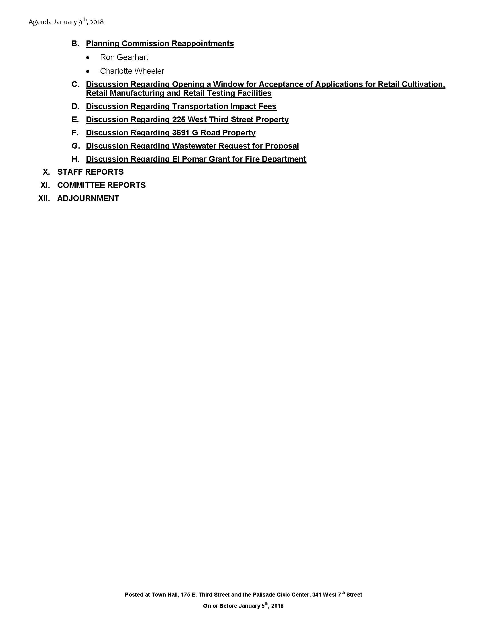January 9th 2018 Board Meeting Agenda Page 2