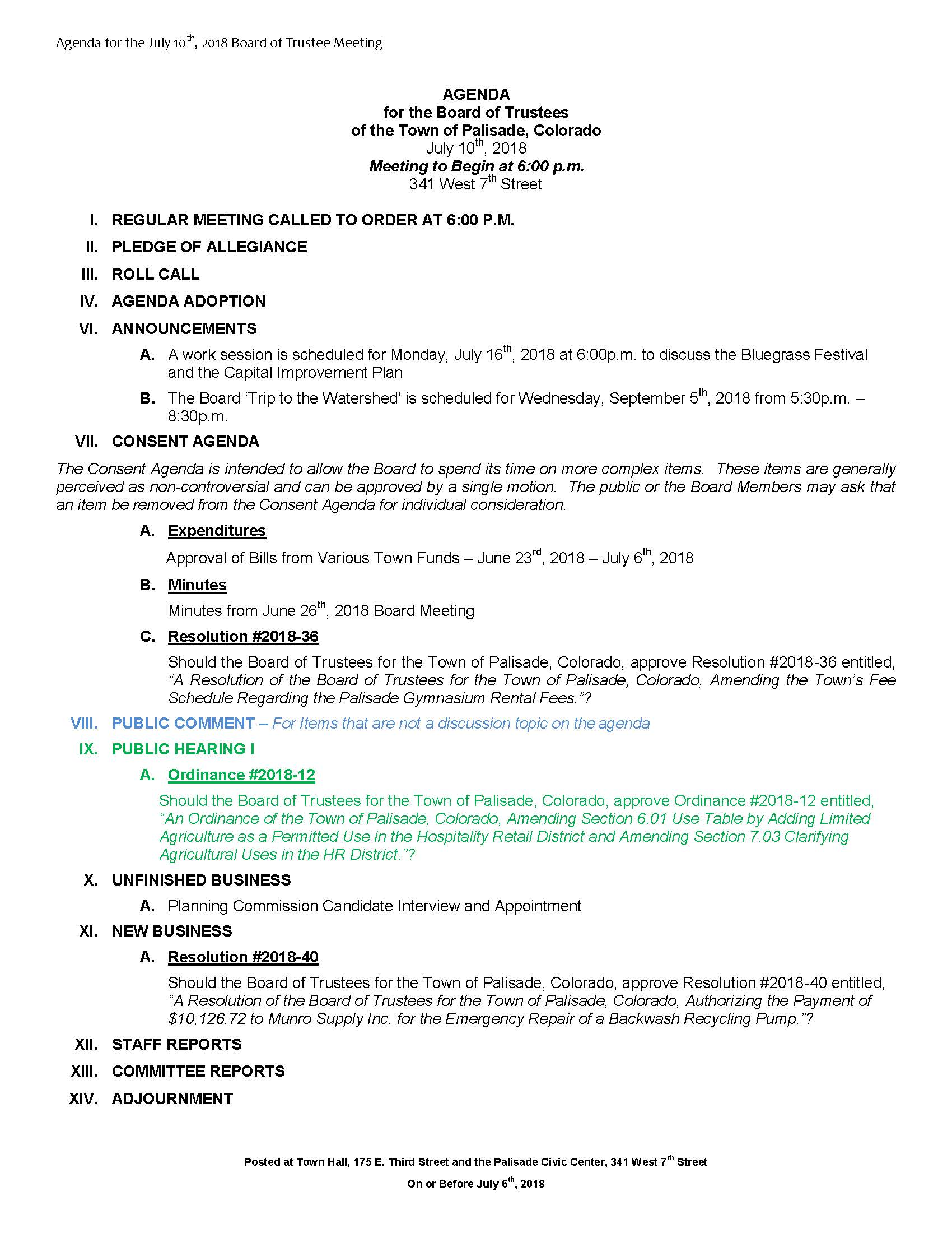 July 10th 2018 Board Meeting Agenda