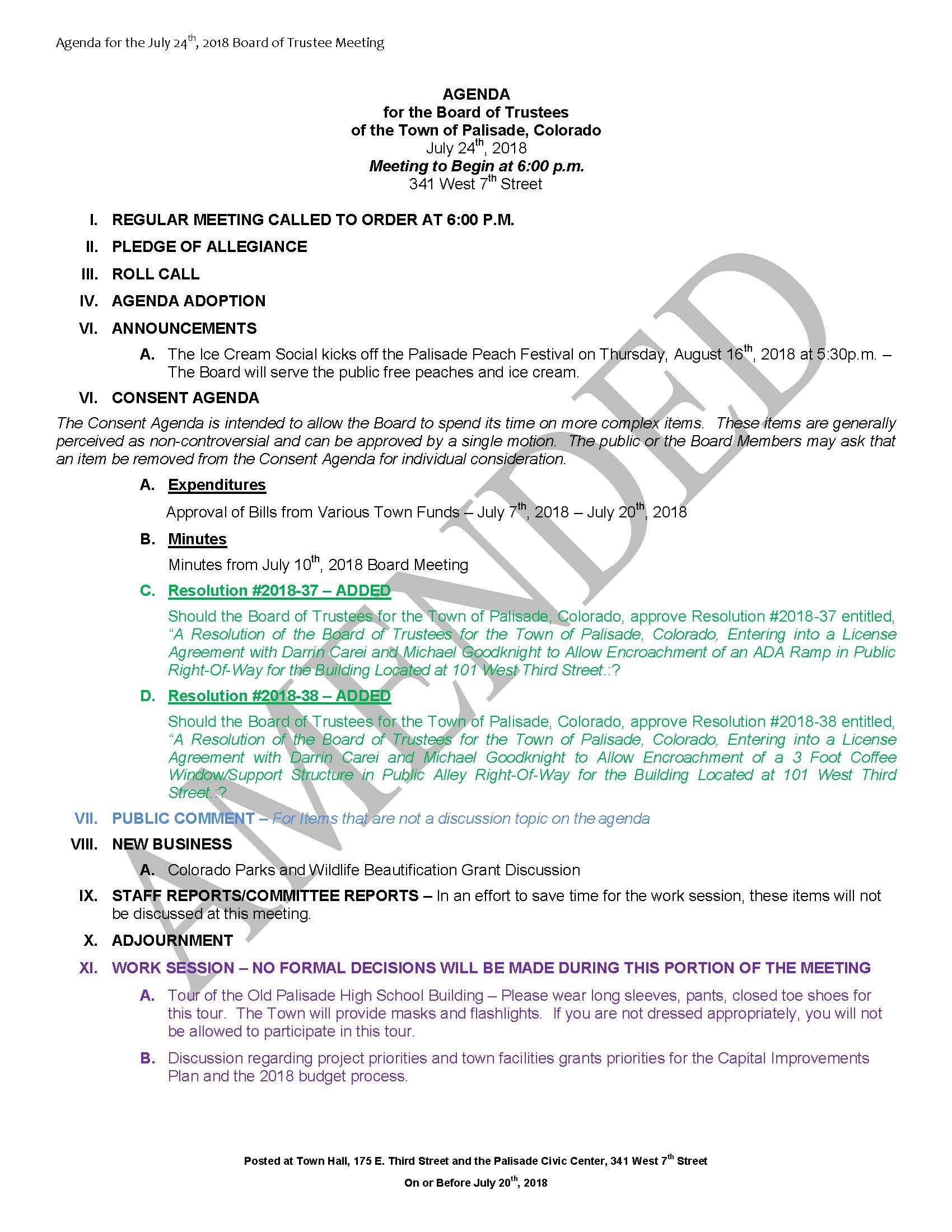 July 24th 2018 Board Meeting Agenda Amended