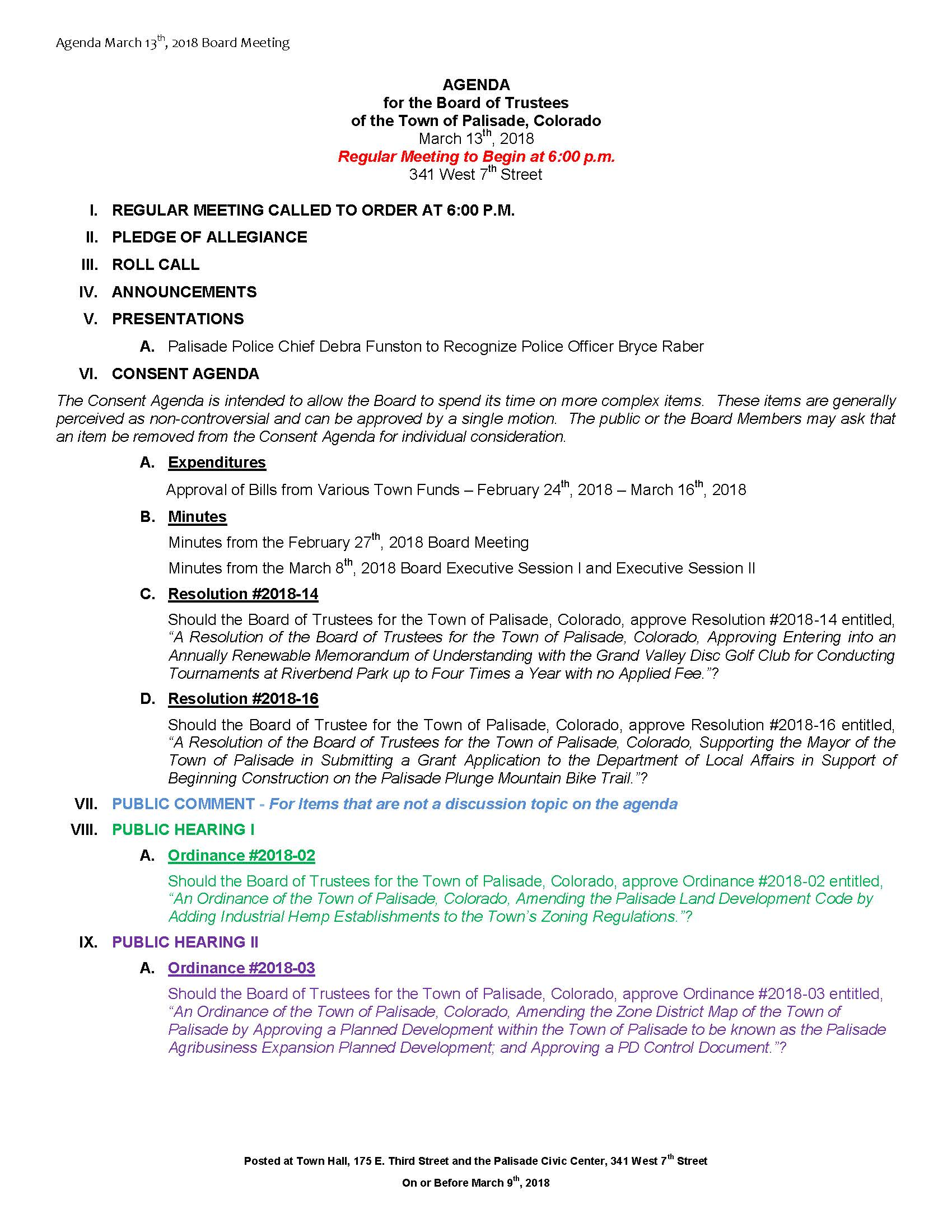 March 13th 2018 Board Meeting Agenda Page 1