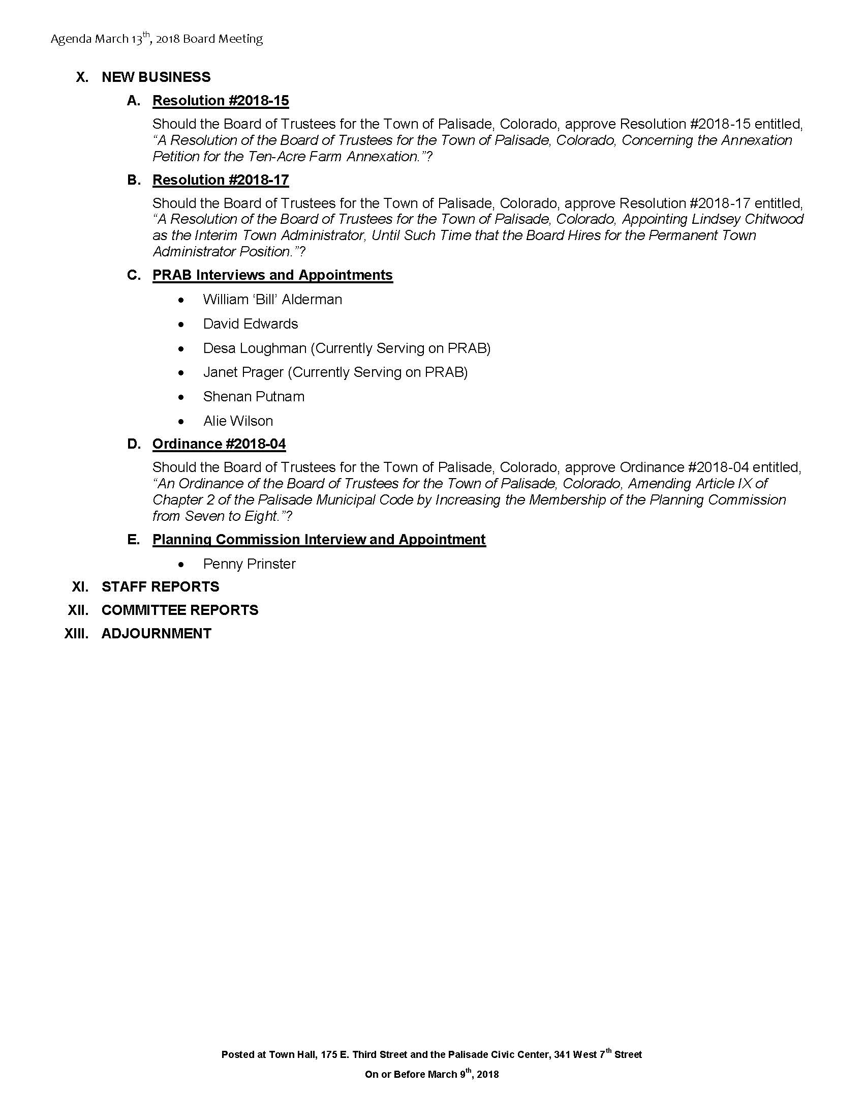 March 13th 2018 Board Meeting Agenda Page 2