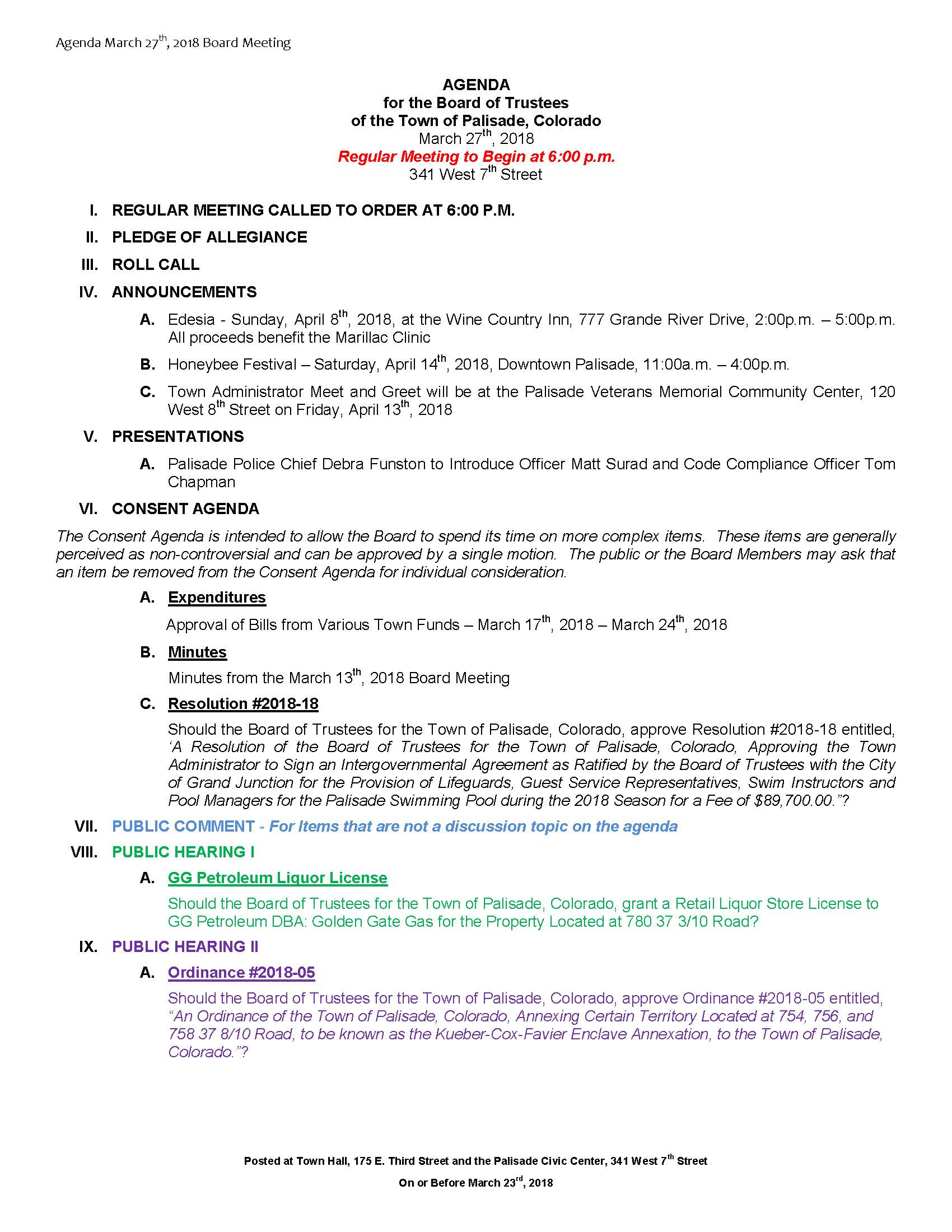 March 27th 2018 Board Meeting Agenda Page 1
