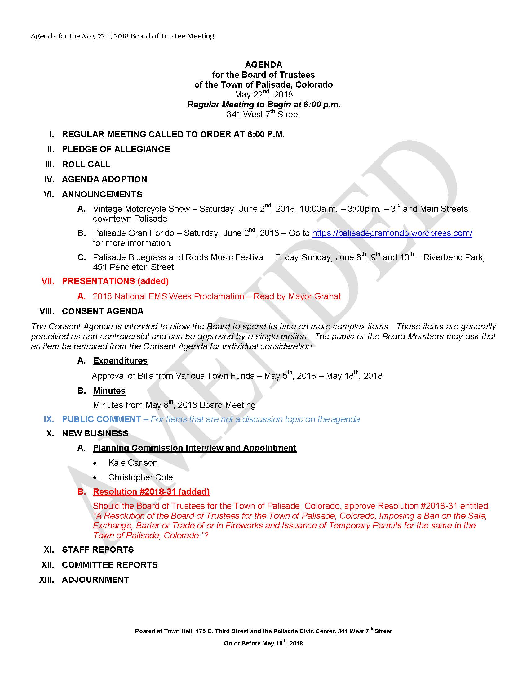 May 22nd 2018 Board Meeting Agenda AMENDED