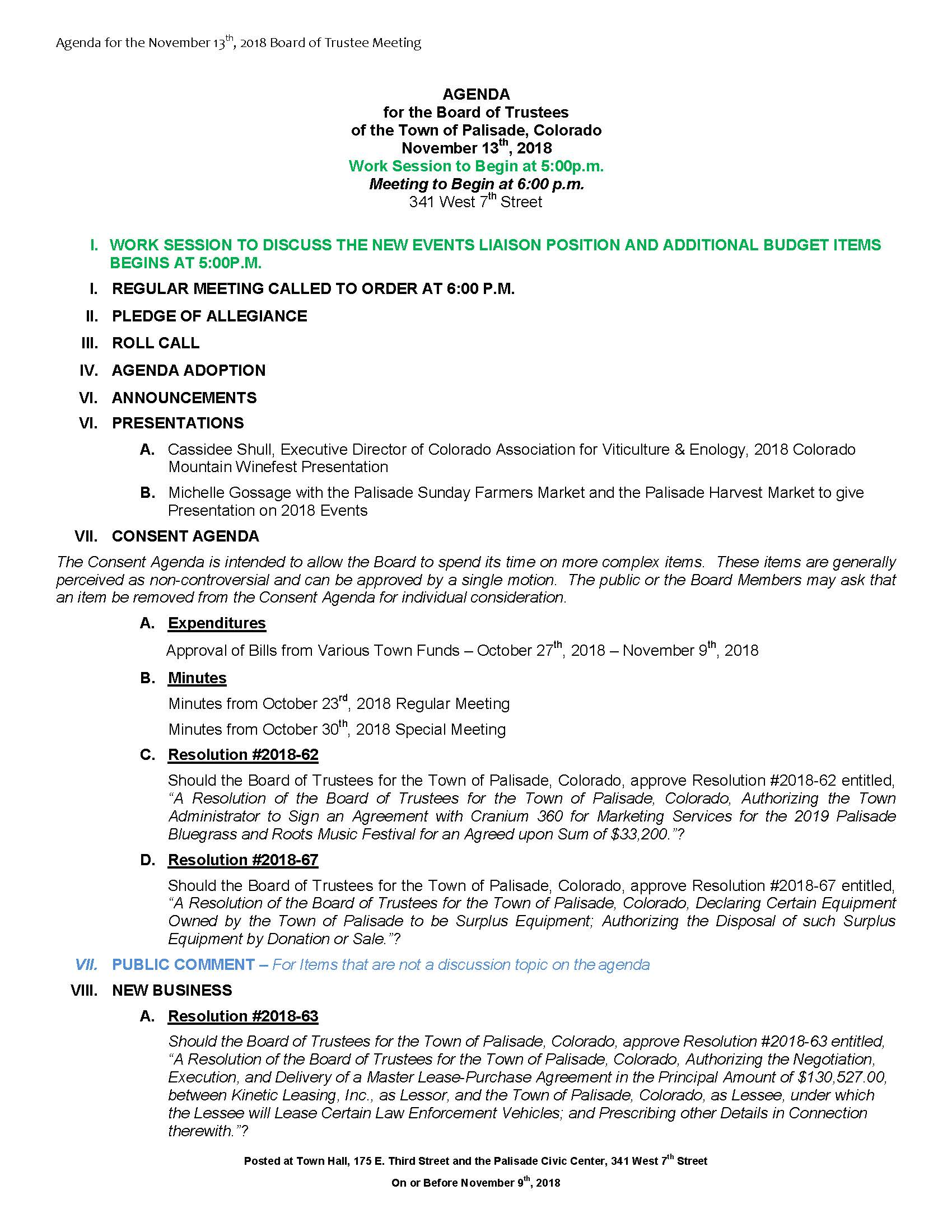 November 13th 2018 Board Meeting Agenda Page 1