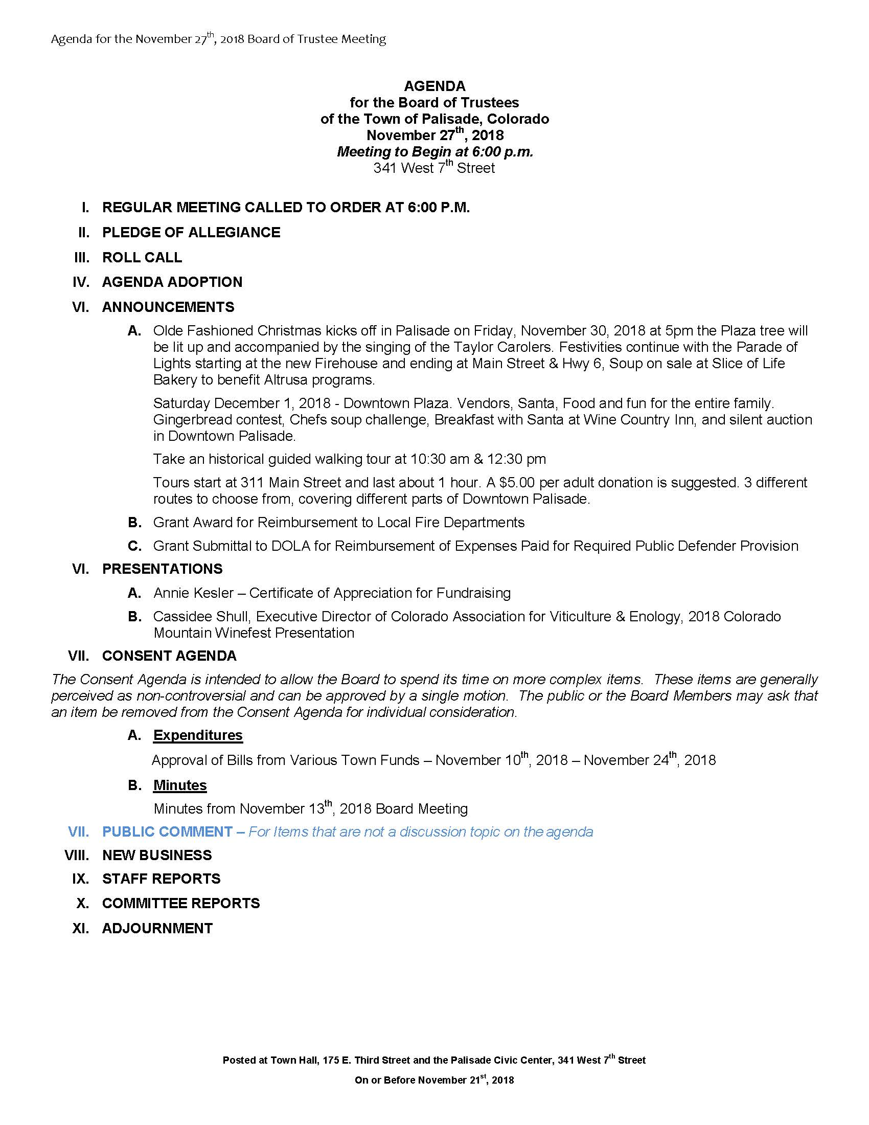 November 27th 2018 Board Meeting Agenda