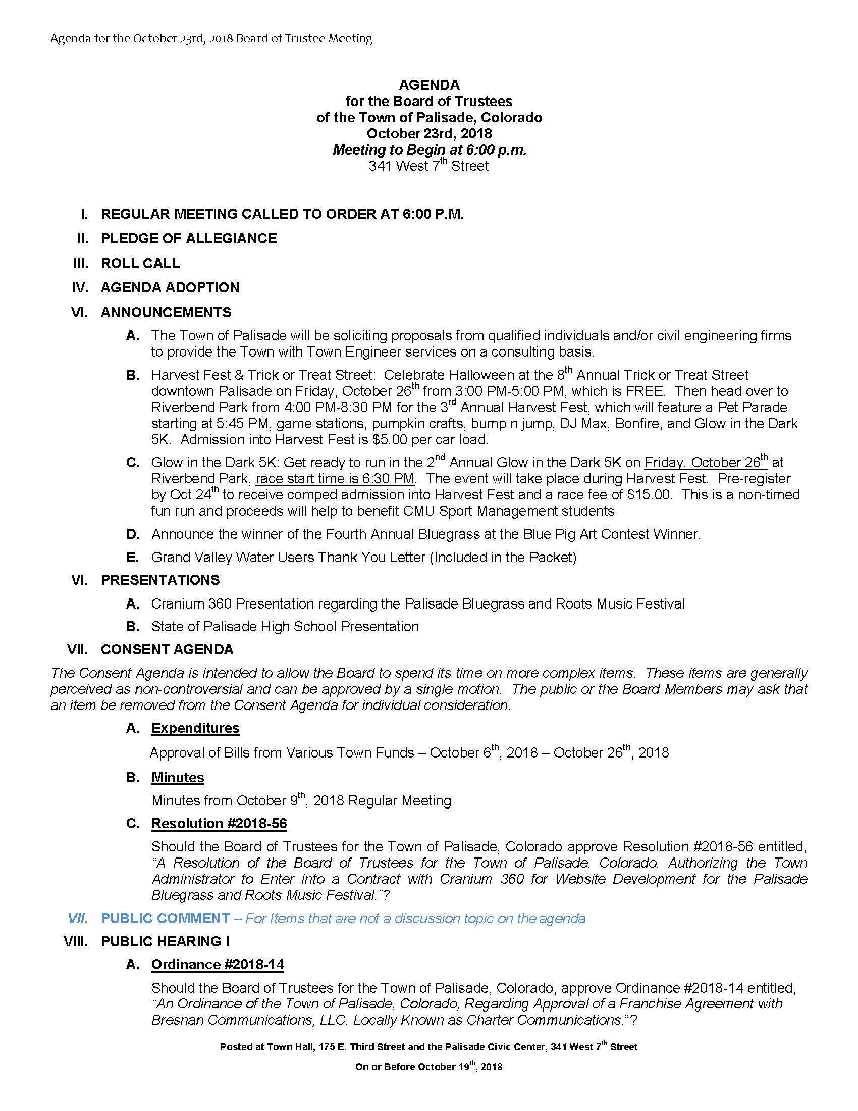 October 23rd 2018 Board Meeting Agenda Page 1