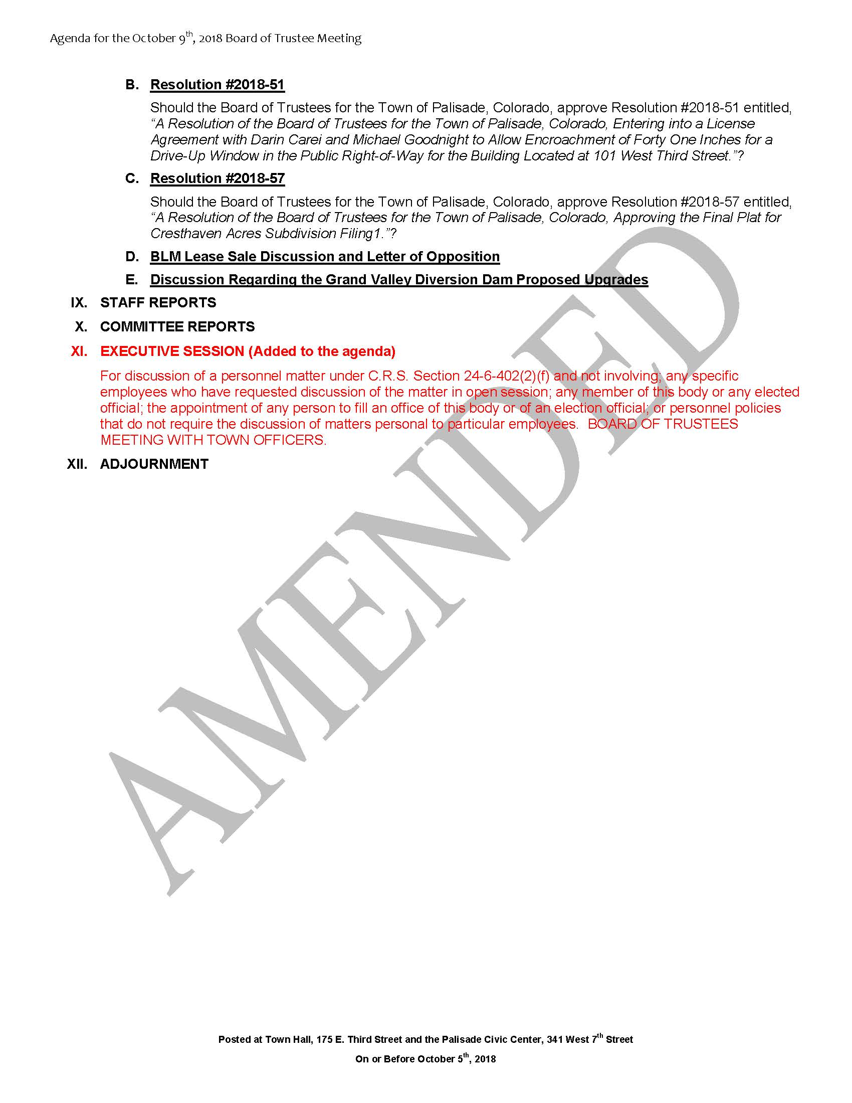 October 9th 2018 Board Meeting Agenda Page 2