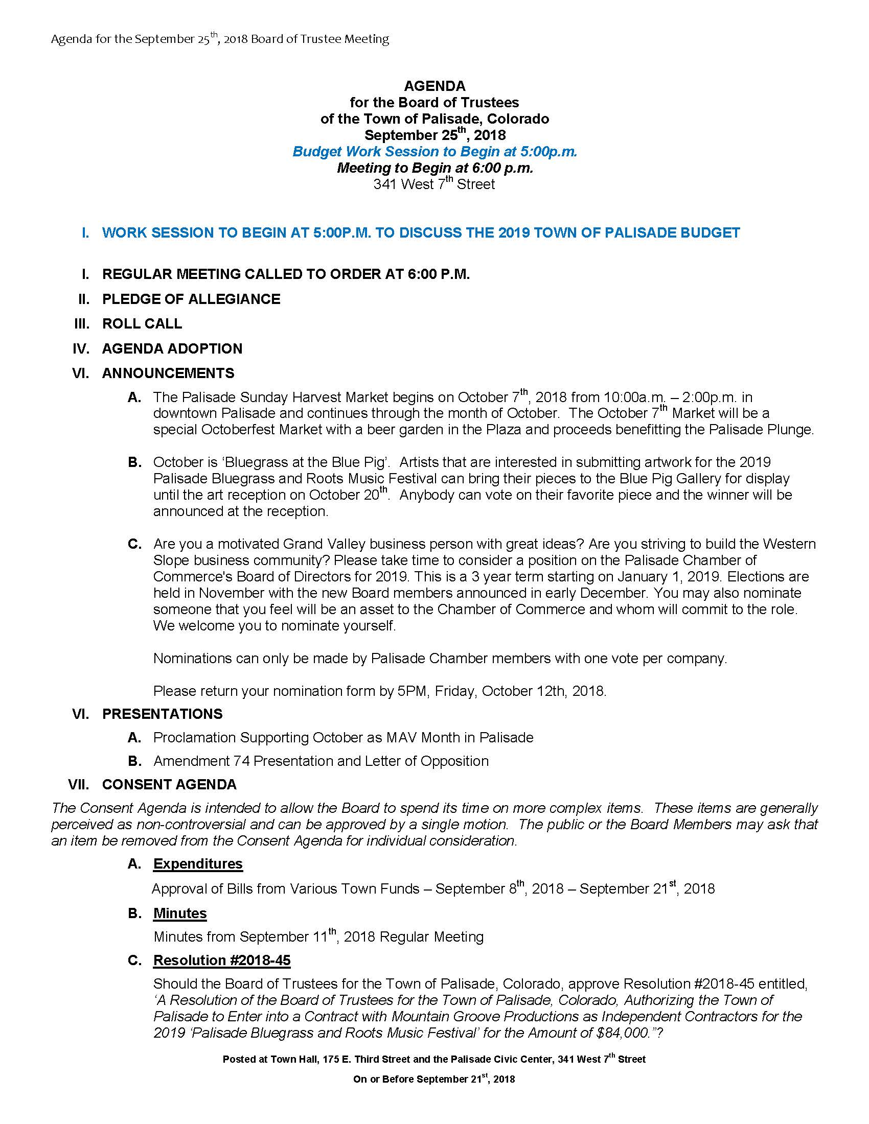 September 25th 2018 Board Meeting Agenda Page 1