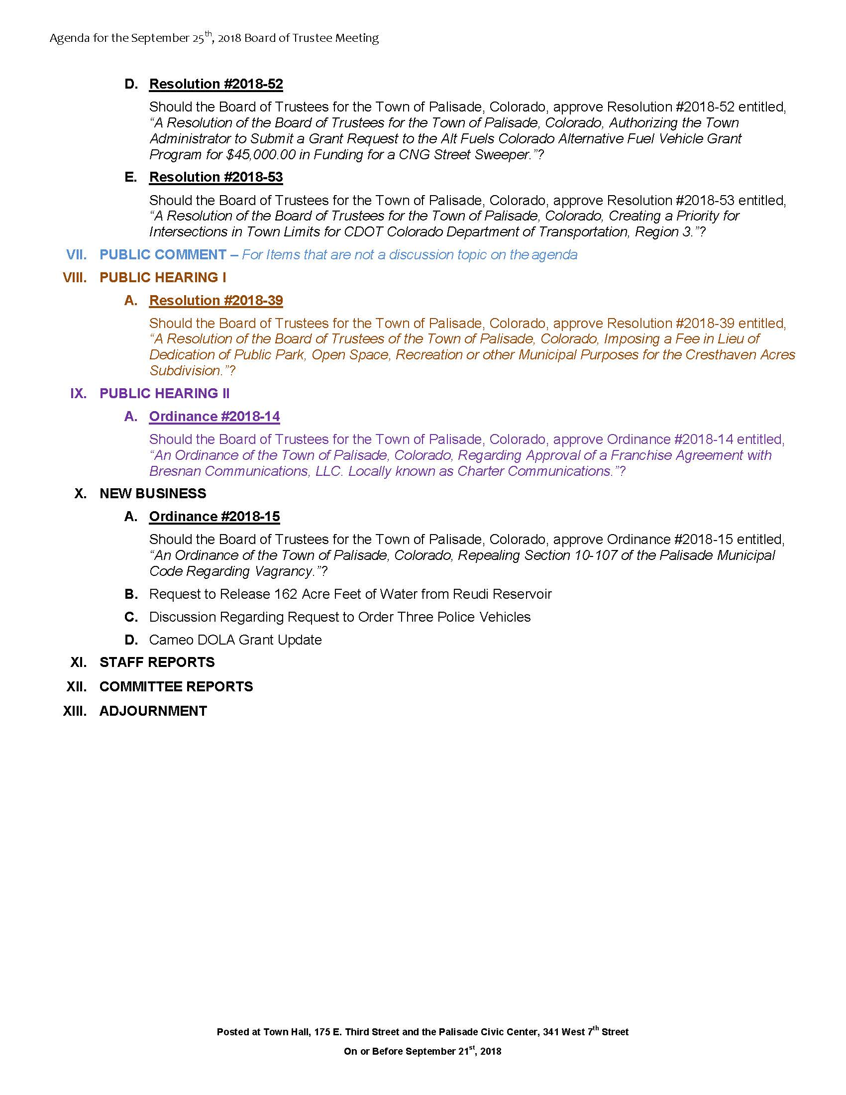 September 25th 2018 Board Meeting Agenda Page 2