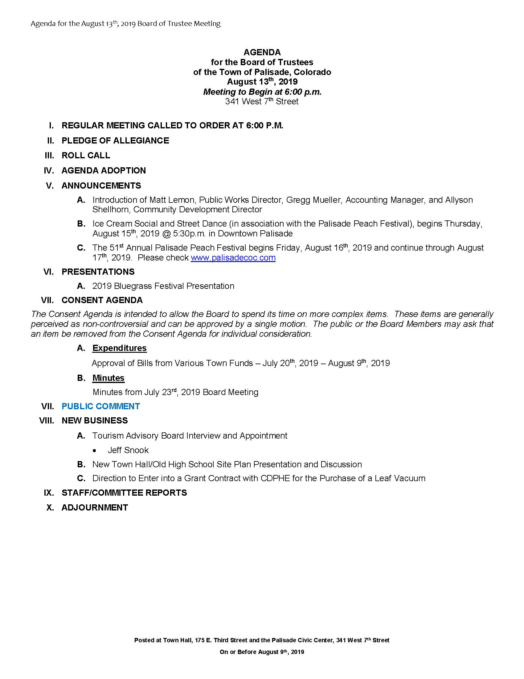 August 13th 2019 Board Meeting Agenda