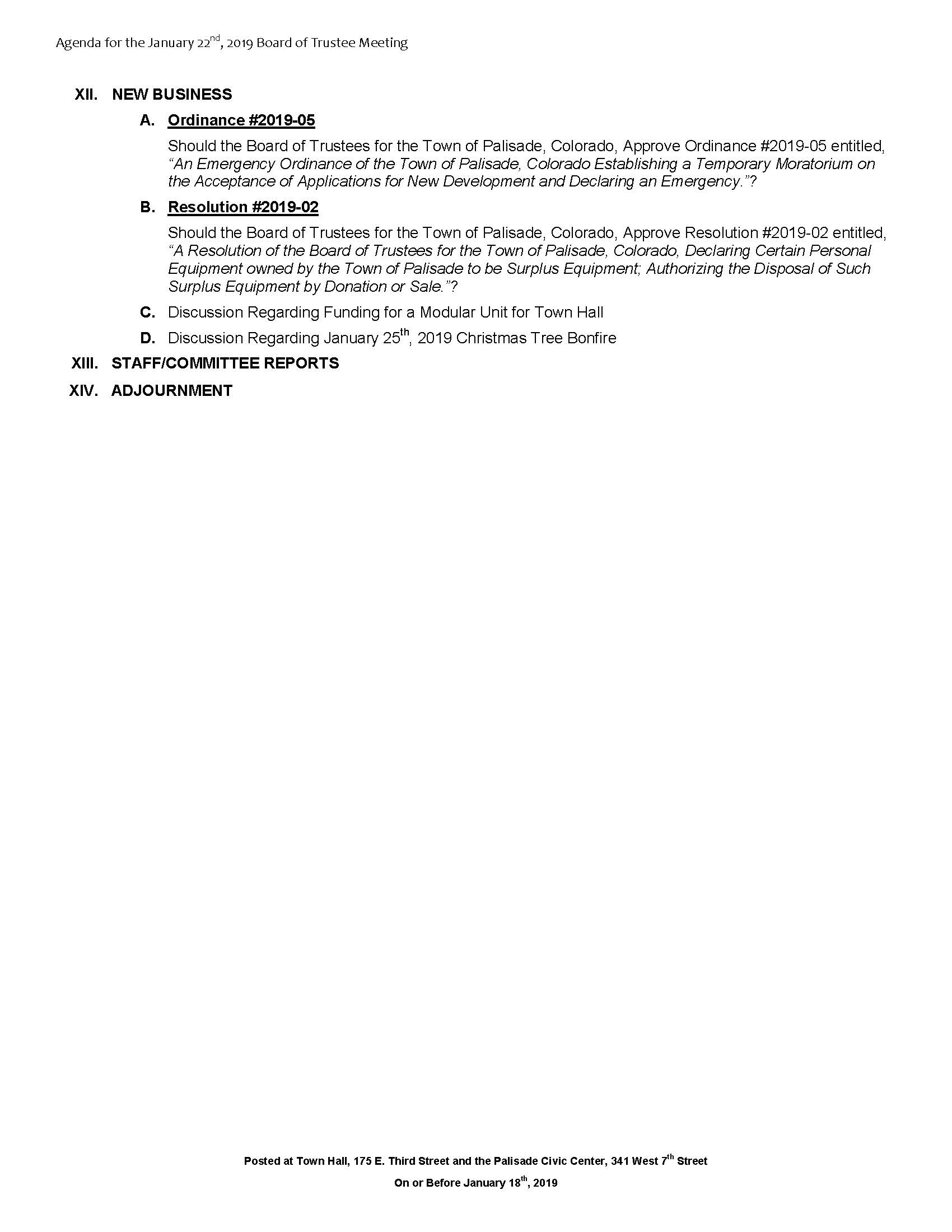 January 22nd 2019 Board Meeting Agenda Page 2