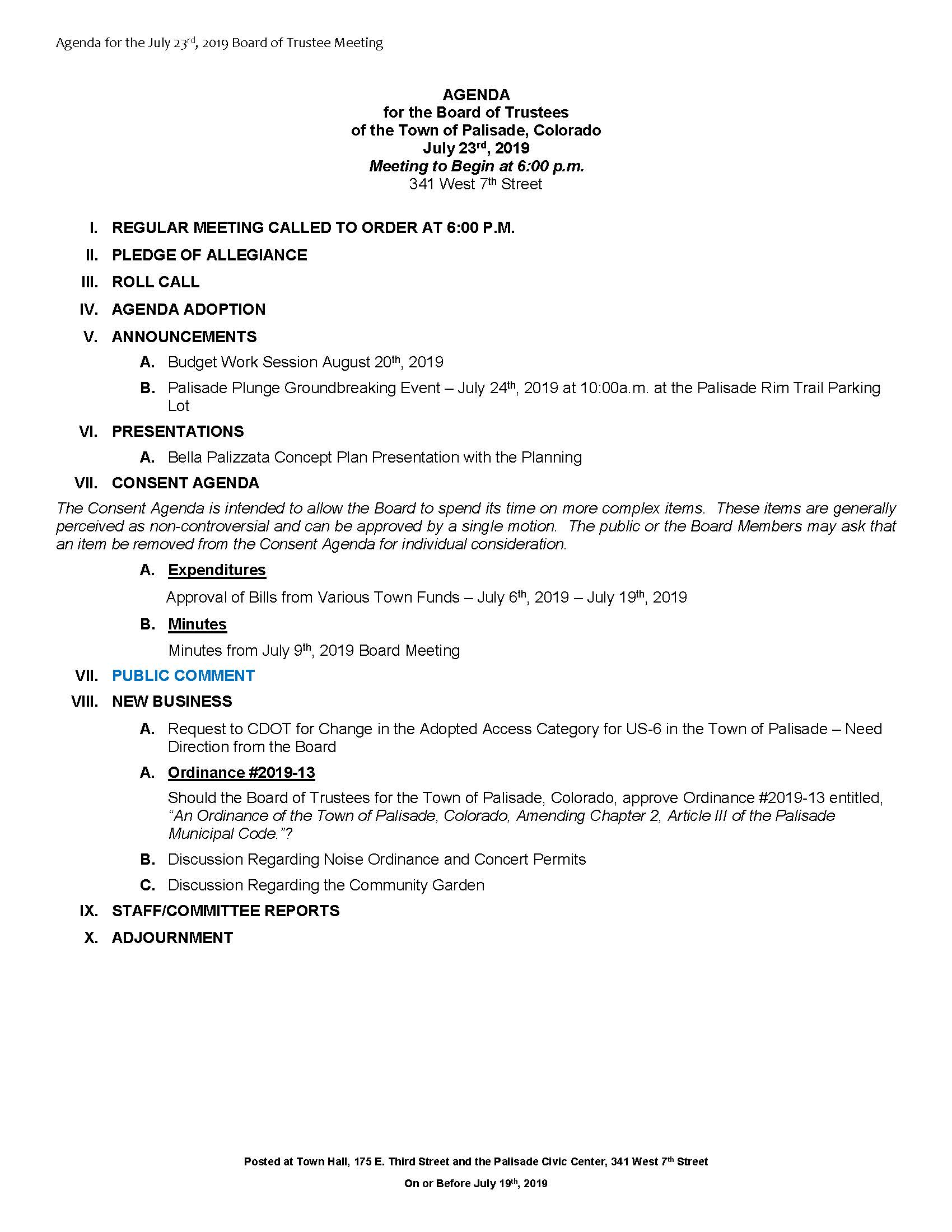 July 23rd 2019 Board Meeting Agenda
