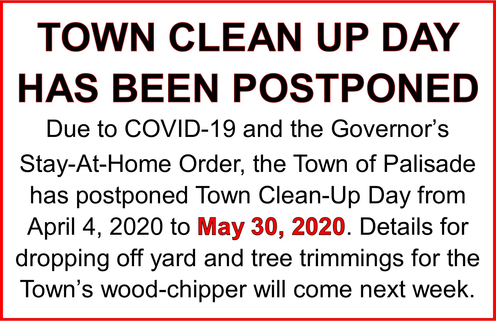 Town Clean Up Day Postponed