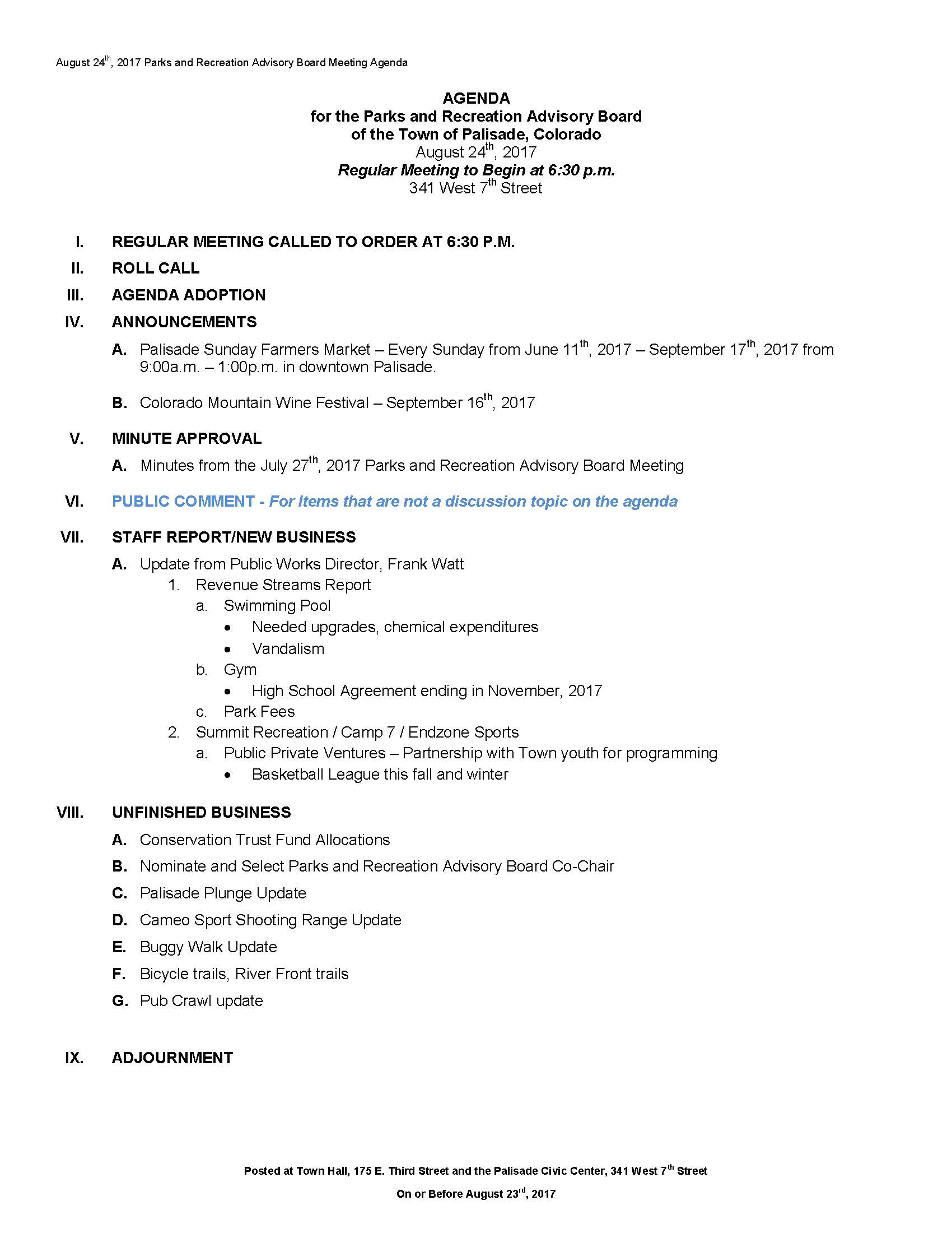 August 24th 2017 PRAC Meeting Agenda Page 1