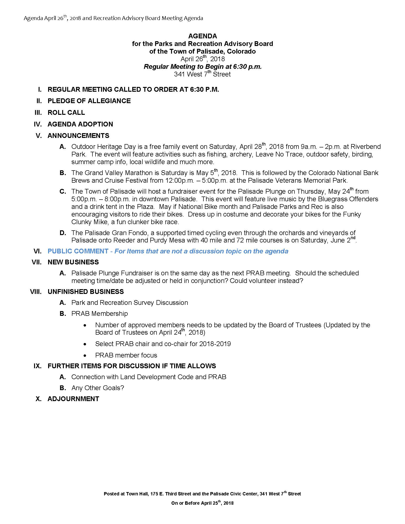 April 26th 2018 PRAB Meeting Agenda