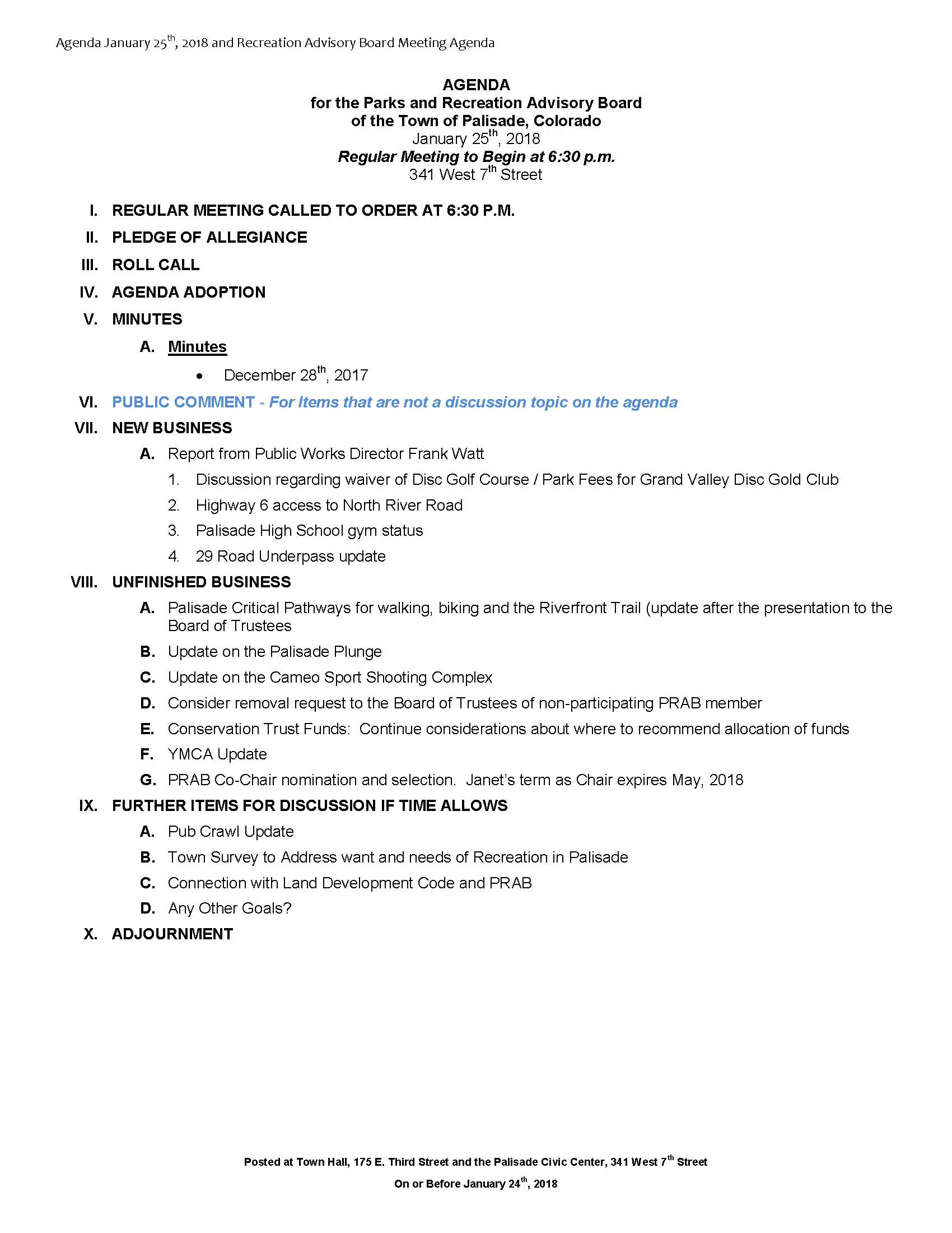 January 25th 2018 PRAB Meeting Agenda