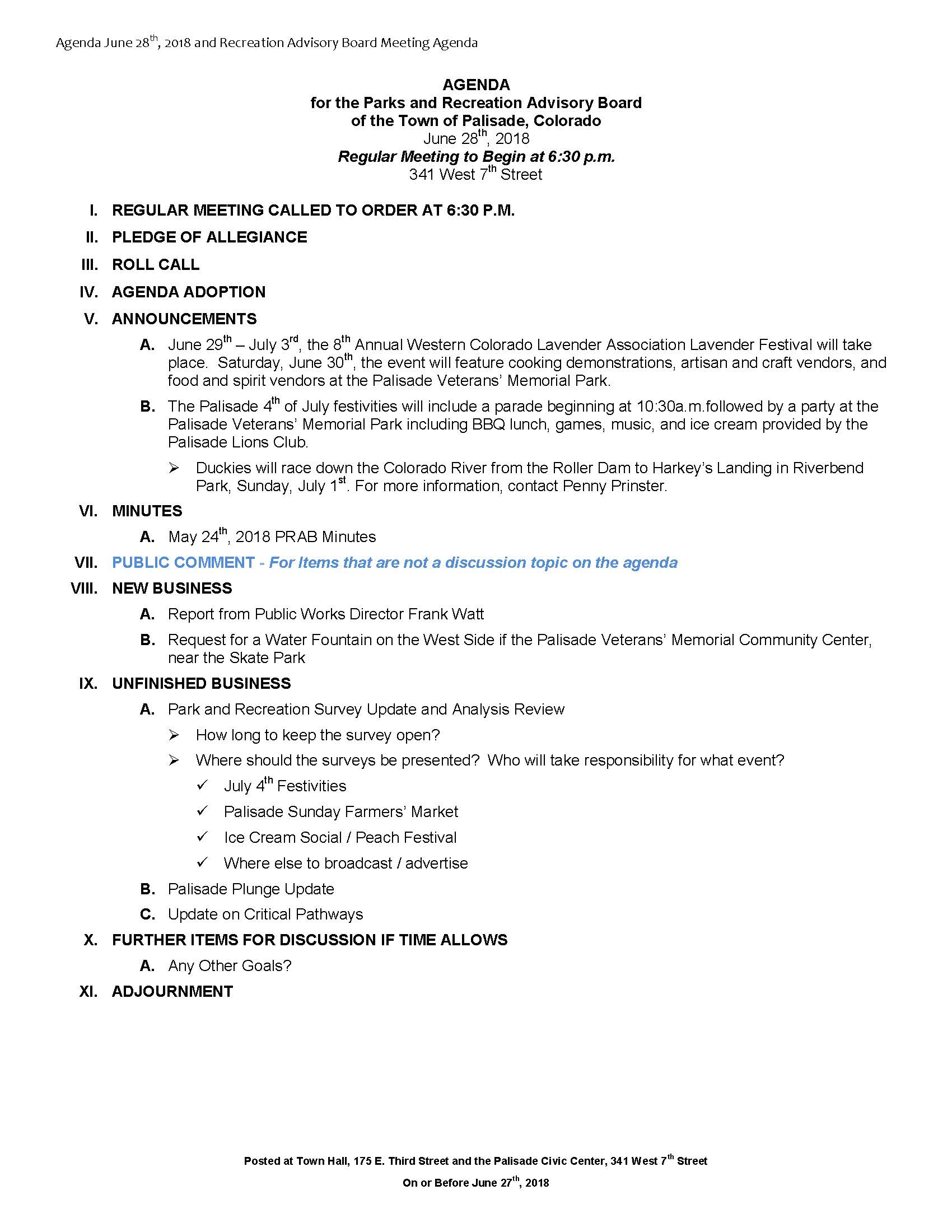 June 28th 2018 PRAB Meeting Agenda