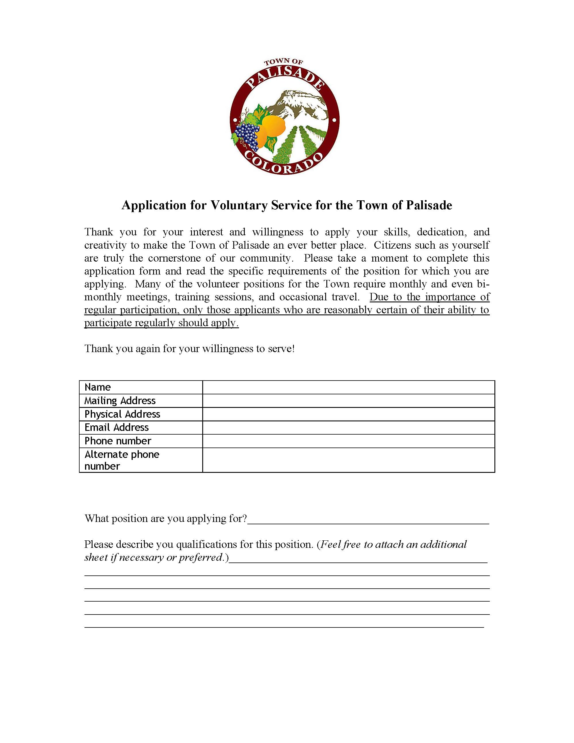 Application for volunteer position Page 1