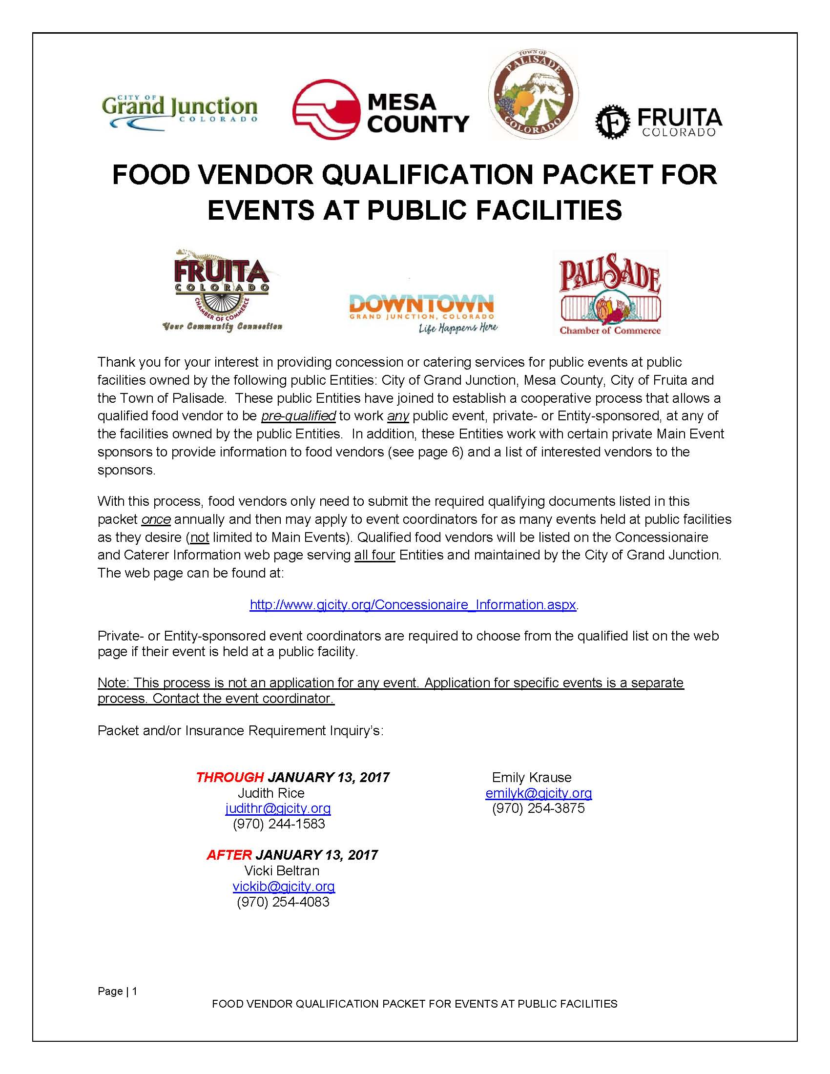 Food Vendor Qualification Packet for Public Facilities Page 1