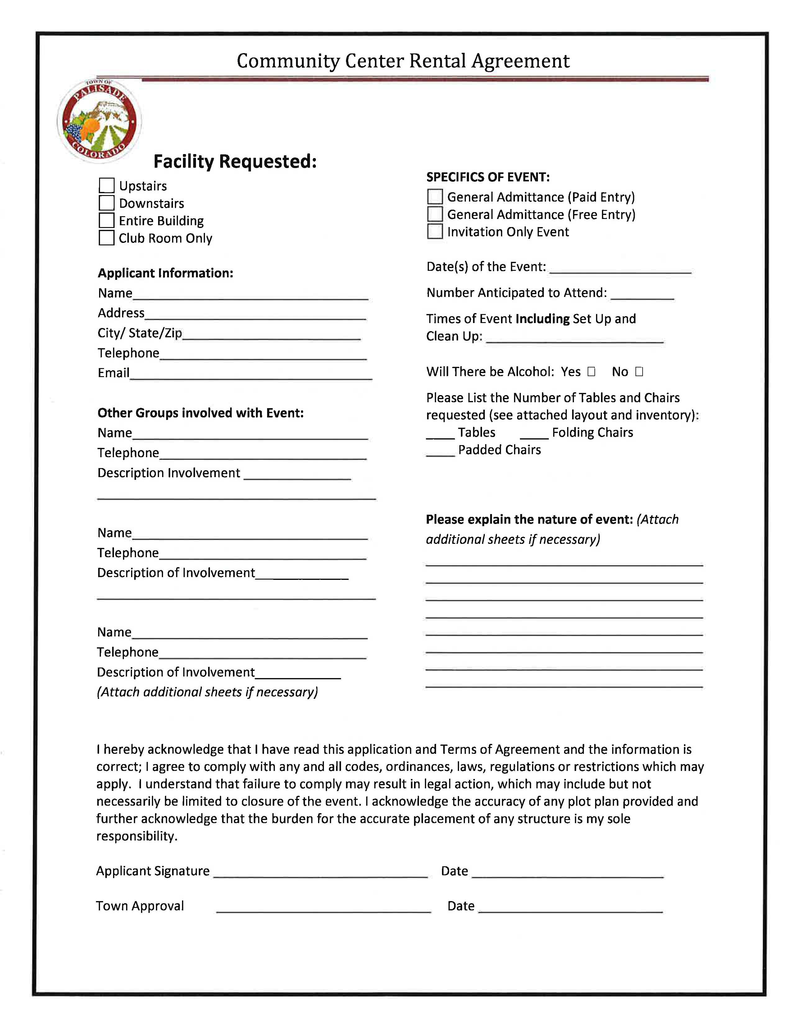 Community Center Rental Agreement Page 1