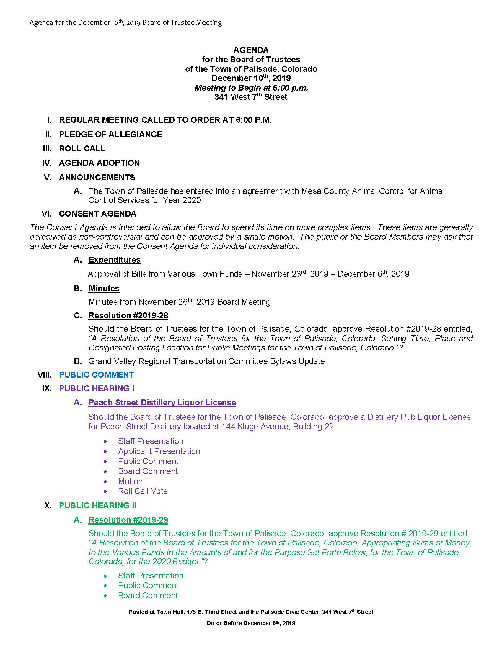 December 10th 2019 Board Meeting Agenda Page 1