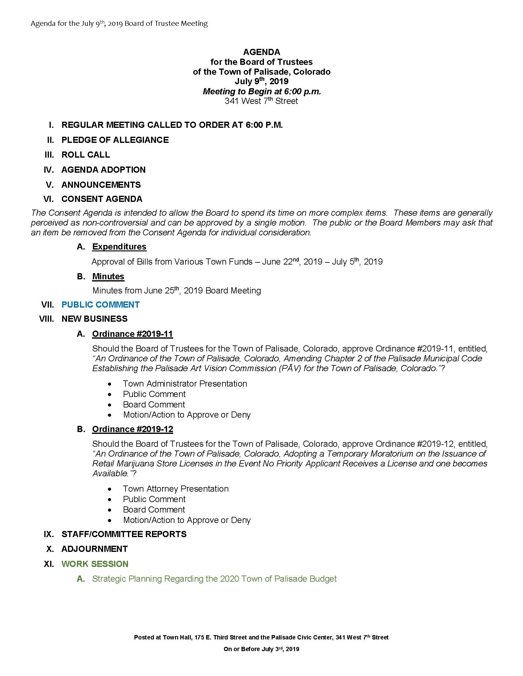 July 9th 2019 Board Meeting Agenda