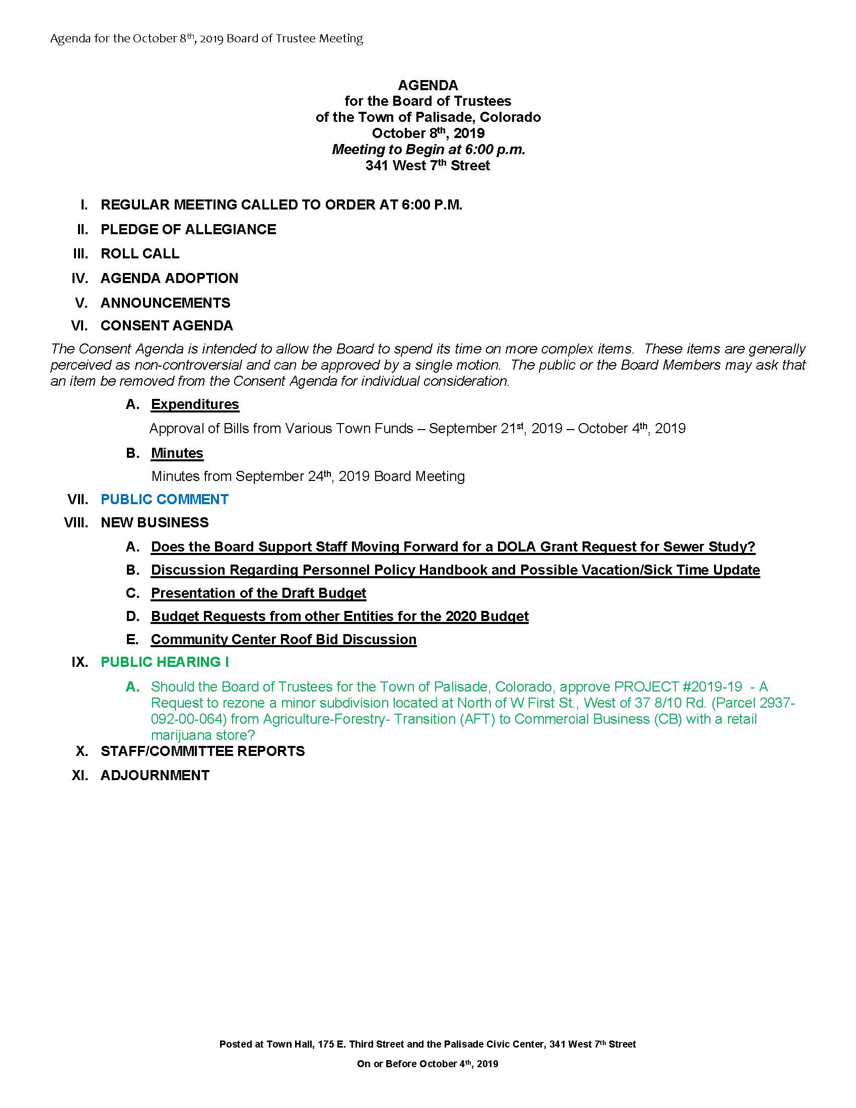 October 8th 2019 Board Meeting Agenda